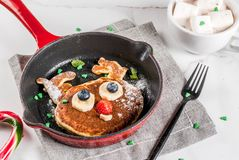 Funny pancakes for Christmas Stock Images