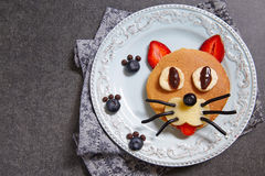 Funny pancakes for kids breakfast Royalty Free Stock Photo