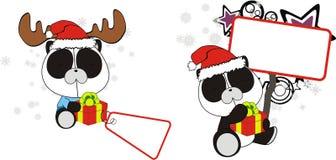 Funny panda bear baby xmas cartoon set Stock Images