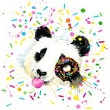 Funny Panda Bear watercolor illustration Royalty Free Stock Photography