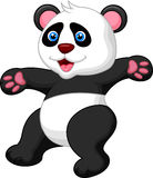 Funny panda cartoon waving hand. Illustration of Funny panda cartoon waving hand Stock Photos