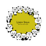 Funny panda family, frame for your design Royalty Free Stock Photography