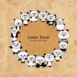Funny panda family, frame for your design Royalty Free Stock Images