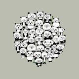 Funny panda family, frame for your design Stock Photo