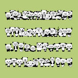 Funny panda family for your design. Vector illustration Royalty Free Stock Images