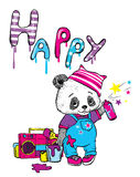 Funny panda in overalls and a hat draws a brush and balonchikom. Vector illustration for a postcard or a poster. Royalty Free Stock Image