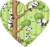 Funny panda. Silhouette of heart with cheerful pandas on tree, white background,  illustration Royalty Free Stock Photography