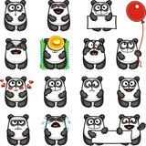 Funny pandas (2). 15 smiley pandas individually grouped for easy copy-n-paste. Vector Royalty Free Stock Photography