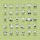 Funny pandas collection, sketch for your design Royalty Free Stock Images