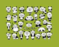 Funny pandas collection, sketch for your design Royalty Free Stock Photo