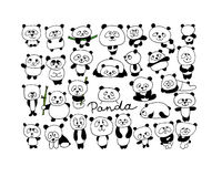 Funny pandas collection, sketch for your design stock illustration