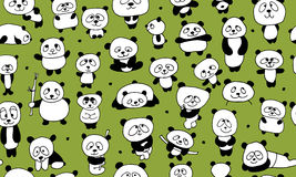 Funny pandas, seamless pattern for your design. Vector illustration Royalty Free Stock Images