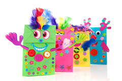 Funny paper bags. Self made funny colorful paper bags Stock Photography