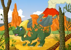 Funny Parasaurolophus cartoon with forest landscape background Stock Image