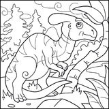 Funny parasaurolophus, coloring book Royalty Free Stock Photography