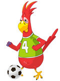 Funny Parrot. Soccer. Stock Photo