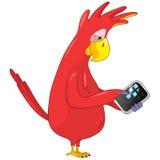 Funny Parrot. Tablet User . vector illustration