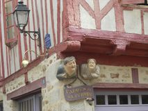 Funny particular on an ancient house in Vannes, Bretagne stock images