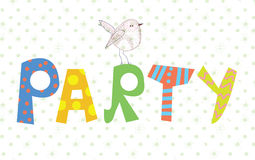 Funny party banner with texture and bird Royalty Free Stock Photo
