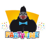 Funny party gorilla. Illustration of a funny party gorilla Royalty Free Stock Image