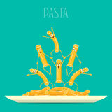 Pasta on a plate vector. Funny, cartoon pasta on a plate. Cartoon characters smiling and laughing. Funny pasta, food vector. Royalty Free Stock Image
