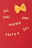 Funny pasta salt pepper Stock Photography