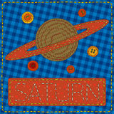 Funny patchwork with the planet Saturn Royalty Free Stock Photo