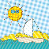 Funny Patchwork with the Sun and Boat Royalty Free Stock Images