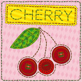 Funny patchwork with sweet cherry Royalty Free Stock Photo