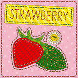Funny patchwork with sweet strawberry Royalty Free Stock Photos