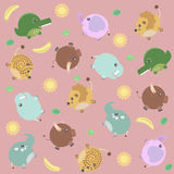 Funny pattern with african animals, sun and banana Stock Images