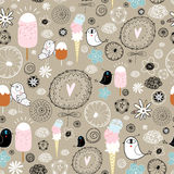 Funny pattern of birds and ice cream Royalty Free Stock Images