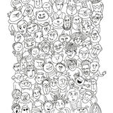 Funny pattern crowd of people faces Royalty Free Stock Photo