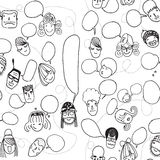 Funny pattern with cute faces and speech bubbles Stock Image