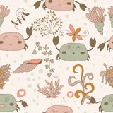 Funny pattern with cute pink crabs. Stock Photography