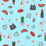 Funny pattern with eyes, lollipops,watermelon, mouth, lipstick, hearts and diamonds. Fashion background with design elements stock illustration