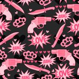 Funny pattern with pink guns, knife, brass knuckles and more hearts. Royalty Free Stock Image