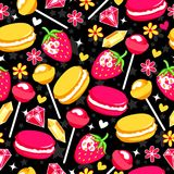 Funny pattern with strawberry, lollipops, diamonds, flowers, hearts and macaroons. Stock Photos