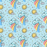 Funny pattern with sun, cloud and rainbow. Royalty Free Stock Image