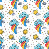 Funny pattern with sun, cloud and rainbow. Royalty Free Stock Photography