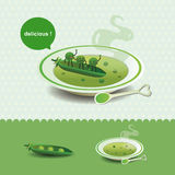 Funny pea soup Stock Photo