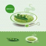 Funny pea soup Stock Photo