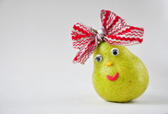 Funny pear with eyes Stock Photos