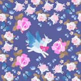 Funny pegasus and flying unicorns - butterflies among rose flowers on dark blue background. Seamless pattern.  royalty free illustration