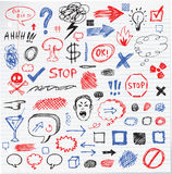 Funny pencil hand drawn graphic sign Stock Images