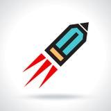 Funny pencil icon like rocket Royalty Free Stock Photo