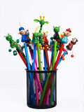 Funny pencils. Some funny pencils for kids into a pencils holder Stock Photography