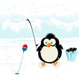 Funny penguin. Fishing on ice Stock Image