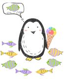 Funny penguin in Antarctica keeps ice cream and thinks about fish. Illustration about animals for children design. Cartoon style stock illustration