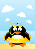 Funny penguin. On beach background Royalty Free Stock Photo